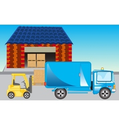 Loading of goods on storehouse vector image vector image