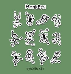 monkeys sticker set for your design vector image
