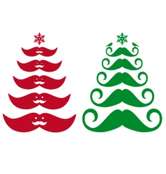 Mustache christmas trees vector