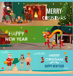 new year and christmas banners vector image vector image
