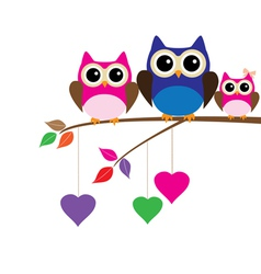 Owl mom dad vector