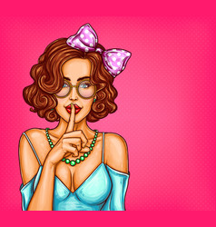 pop art of a sexy girl holding vector image