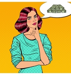 Pop art young beautiful woman thinking about money vector