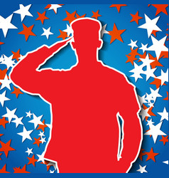 Saluting soldier silhouette on starry background vector