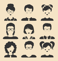 Set of different male and female children vector