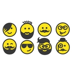 Set of hipster smiley faces vector image vector image