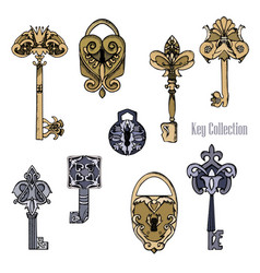 set of old castles and keys in sketch style vector image vector image