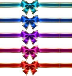 Set of silk bows with ribbons and golden edging vector