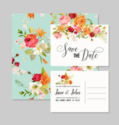 set of wedding cards with lily flowers vector image