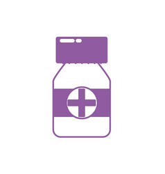 Silhouette bottle pills to medical treatment vector