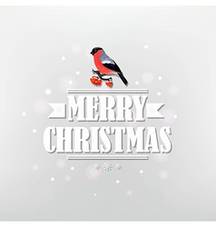 Vintage Christmas Poster With Bullfinch vector image vector image