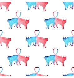 Watercolor cats pattern vector image