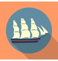 Ship icon in a flat design vector