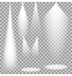 Set of white transparent spotlights vector