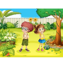 A girl and a boy in the backyard vector
