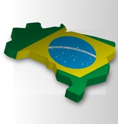 Three dimensional map of brazil in flag colors vector