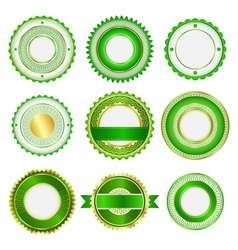 Set of badges labels and stickers in green vector image