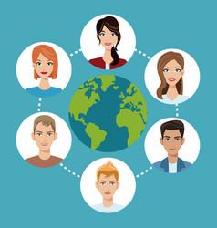 Worldwide people communication social media vector