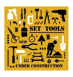 A set of tools silhouettes vector