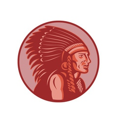 Native american indian chief side view vector