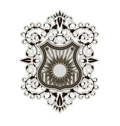 Ornate shield label design template vector