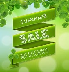 Summer sale poster with leaves vector