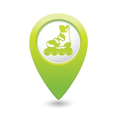 Rollerskates green map pointer vector