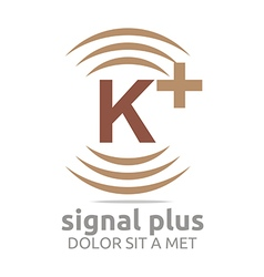 Logo signal letter k plus brown alphabet wireless vector