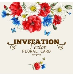 Watercolor floral greeting card with red poppies vector