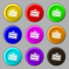 Rent icon sign symbol on nine round colourful vector