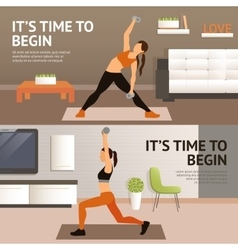 Woman home workout vector