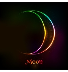 Shining neon light moon astrological symbol vector