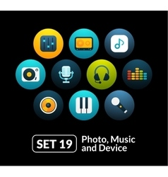 Flat icons set 19 - audio and photo collection vector