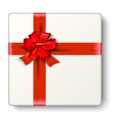 Realistic gift icon with red ribbon an bow vector