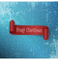 Realistic curved red christmas ribbon on ice vector