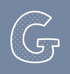 G alphabet letter with white polka dots on blue vector