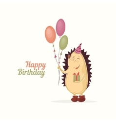 Hedgehog birthday greeting vector