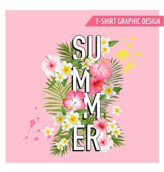 Tropical flowers background summer design vector