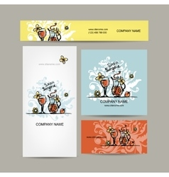 Sangria spanish drink business cards design vector