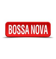 Bossa nova red three-dimensional square button vector