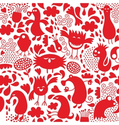 Seamless pattern with cute monster vector