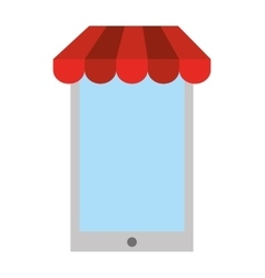 Electronic commerce with smartphone isolated icon vector