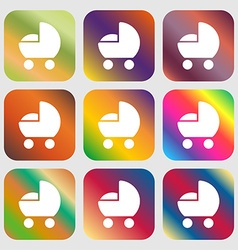 Baby pram icon sign nine buttons with bright vector