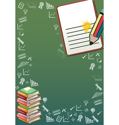 Border design with books and school objects vector