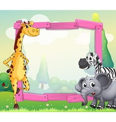 Border design with wild animals vector image vector image