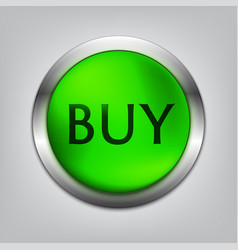 Buy green button realistic vector