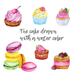cake and muffins drawn with a water color vector image