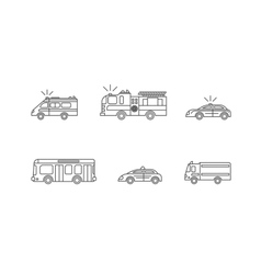 Car Thin Line Icons Set vector image vector image