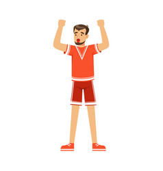 Cheering football fan character in red celebrating vector