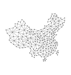 China map of polygonal mosaic lines network rays vector